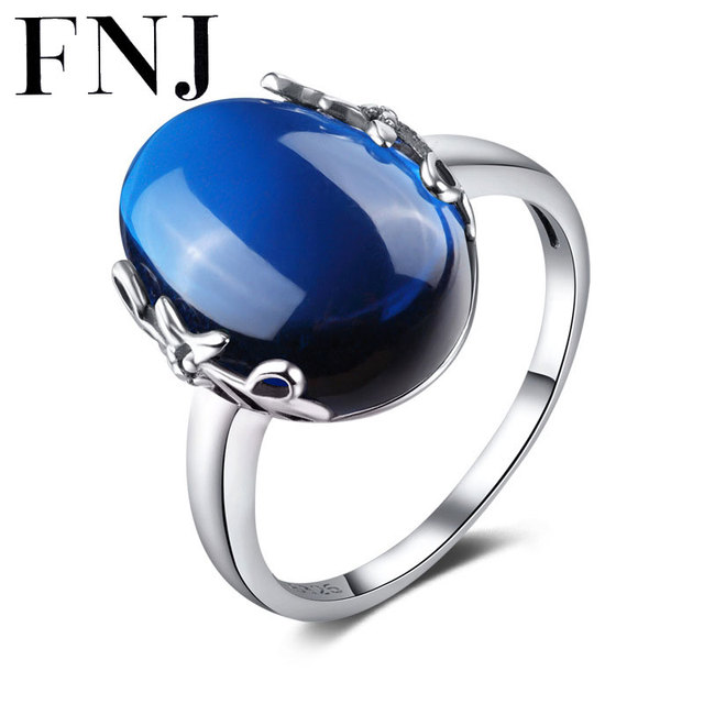 FNJ Vintage 100% S925 Solid Thai Silver Ring Fine Jewelry Blue Corundum Green Stone Pure 925 Sterling Silver Rings for Women