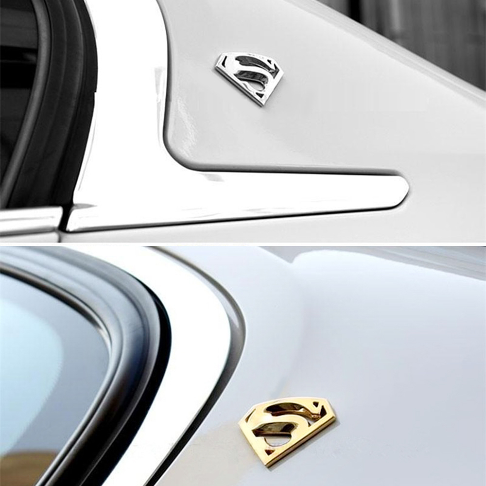Design car emblem - 3d 3m Chrome Emblem Car Styling Funny Car Stickers Auto Logo Superman Badge Metal Motorcycle Accessories