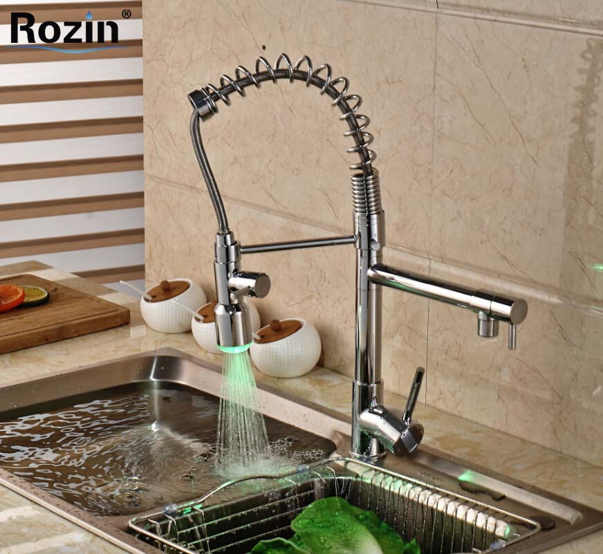 Single Handle LED 3 Colors Spring Pull Down Kitchen Sink Faucet Deck Mount Hands Free hot