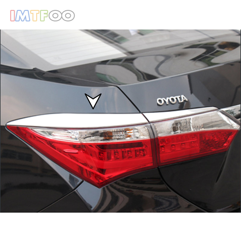 FIT FOR 2014 2015 2016 2017 TOYOTA COROLLA E170 VER. ACCESSORIES CHROME TAILLIGHTS TRIM TAIL LIGHT DECAL STRIP STICKER