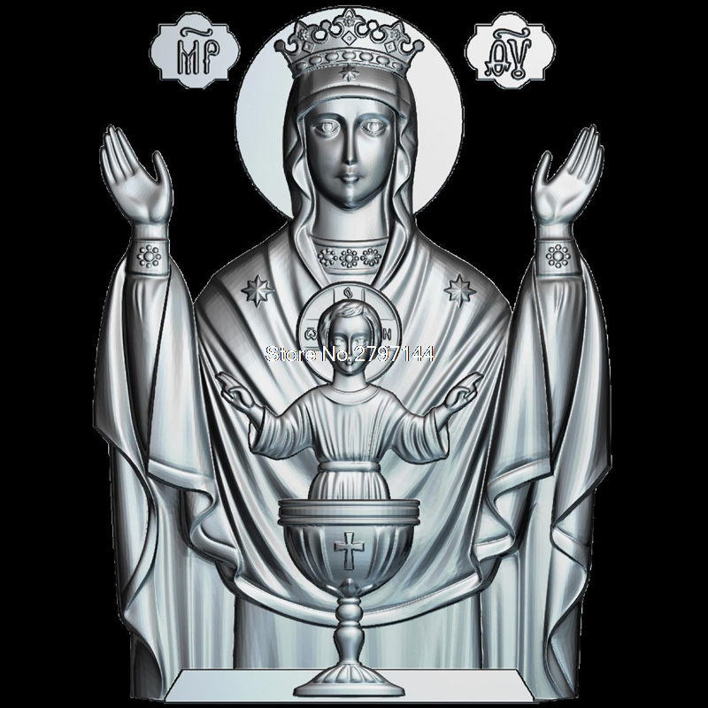 Mother of God The Inexhaustible Cup 3d model for cnc STL format Religion 3d Relief Model STL Router 3 axis Engraver ArtCam theotokos mother of god 3d model for cnc stl format religion 3d relief model stl router 3 axis engraver artcam
