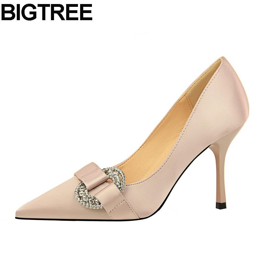 BIGTREE Women Pumps Crystal Rhinestone High Heels Slip On Shoes Pointed Toe  Satin Silk Wedding Bridal Shallow Elegant Shoes a5c5b923bbff