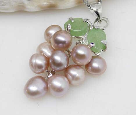 Jewelr 005289 moda púrpura Natural agua dulce perla JADE VERDE uva colgante collar