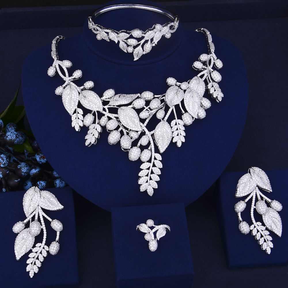GODKI Luxury Leaf Flower African Necklace Earring Set Jewelry Sets For Women Wedding Zircon CZ Dubai Silver Bridal jewelry Sets a suit of chic rhinestoned leaf wedding jewelry set for women