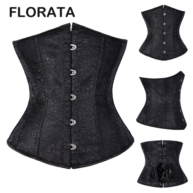 FLORATA Women's Sexy Underbust Waist Trainer Corset Bustier Body Shapewear Lace Up Waist  Embroidery Corselet