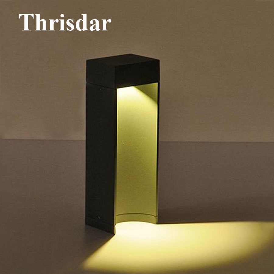 Thrisdar 10W Modern Led Garden Post Lawn Lamp Whaterproof Villa Courtyard Porch Landscape Light Outdoor Park Gateway Lawn Light cashiro 9184 outdoor cycling sport windproof polarized sunglasses goggle black red revo
