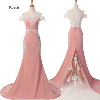 New Arrival Charming Pink Lace Applique Sexy Mermaid Long Bridesmaid Dresses Maid Of Honor For Wedding
