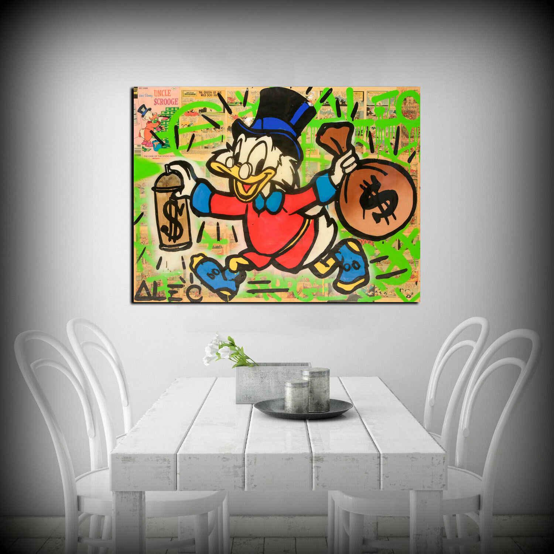 """Alec Monopolys """"Scrooge Money"""" Astratta di Arte Della Parete Della Pittura A Olio Poster Tela di Canapa Pittura Stampa Immagini per Living Room Complementi Arredo Casa"""
