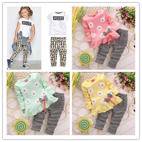 2016-Girls-clothes-Baby-Girl-Clothing-Set-Children-Flower-Bow-Cute-Suit-2PCS-Kids-Twinset-Top-T-Shirt-Plaid-Pants-Leggings-2