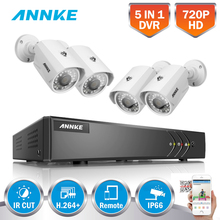 ANNKE 8CH 720P HDMI 5in1 DVR CCTV Security System 4PCS 1200TVL 1MP Outdoor Weatherproof Bullet White Camera Surveillance Kits