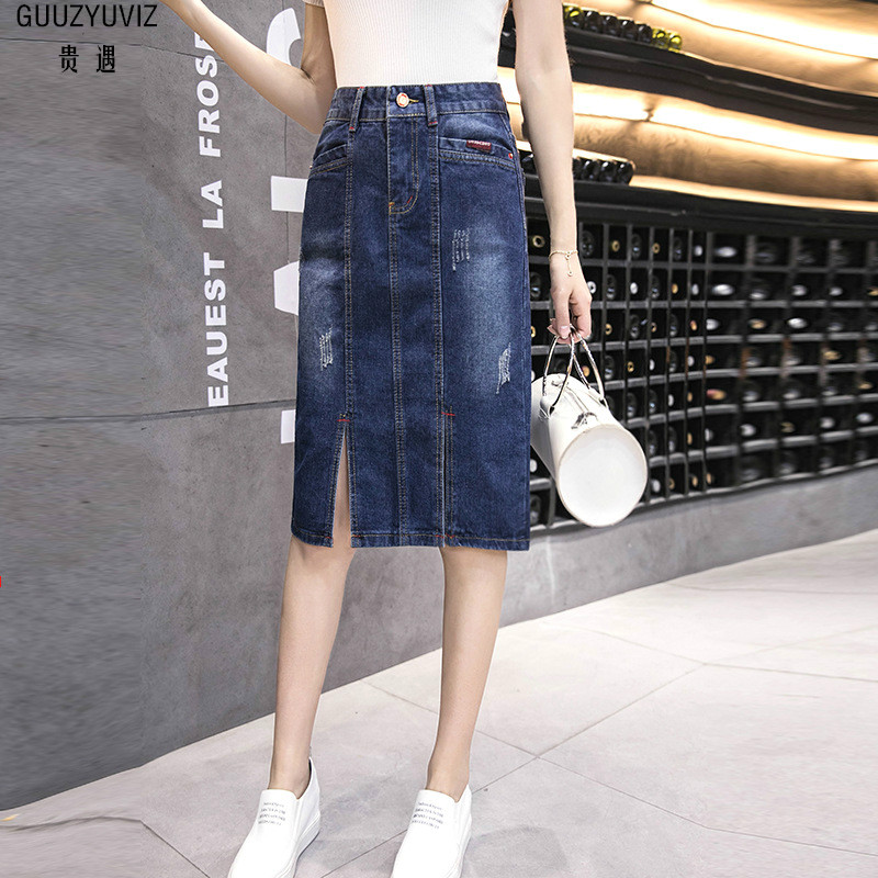 GUUZYUVIZ 2018 Summer Saias Na Altura Do Joelho Casual Plus Size High Waist Button Cotton Skirts Womens Pockets Denim Skirt