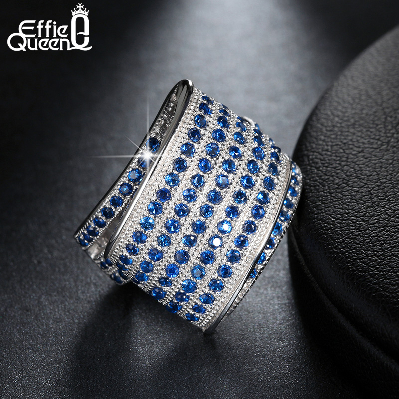 Effie Queen Diseño Único Azul Cubic Zircon Pave Ajuste Anillo de Dedo Compromiso Banquete de Boda Joyería de Las Mujeres Anillos de Moda DR91