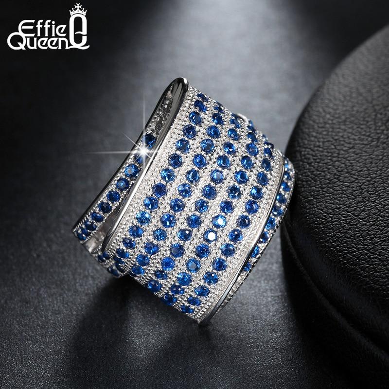 Effie Queen Unique Design Blue Cubic Zircon Pave Setting Finger Ring Engagement Wedding Party Women Fashion Rings Jewelry DR91