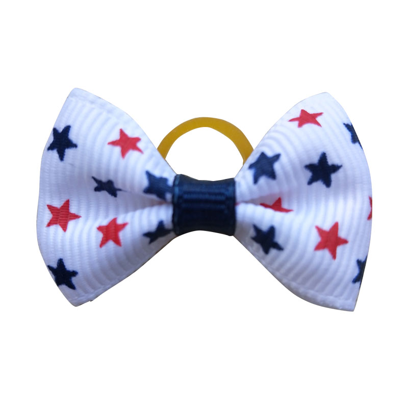 Image 5 - 100pcs Dog Bows Red White Blue Pet Dog Hair Accessories Hand made Independence Day Pet Dog Bow Rubber Bands Pet ShopDog Accessories   -
