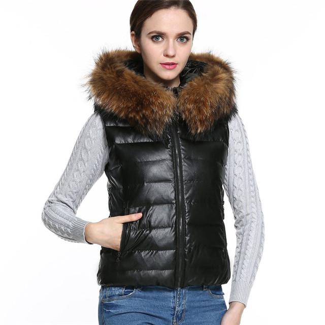 New Top Hot Sale Winter Vest Women Down Parka Short Fur Collar Hooded Vest Lady Quilted Jacket Warm Black Mujer Gilet Oct14
