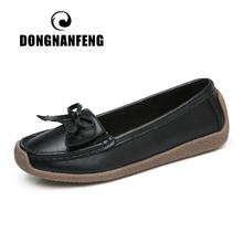 DONGNANFENG Women Mother Old Ladies Female Shoes Flats Loafers Cow Genuine Leather Pigskin Slip On Casual Bow 35-40 JTS-2201