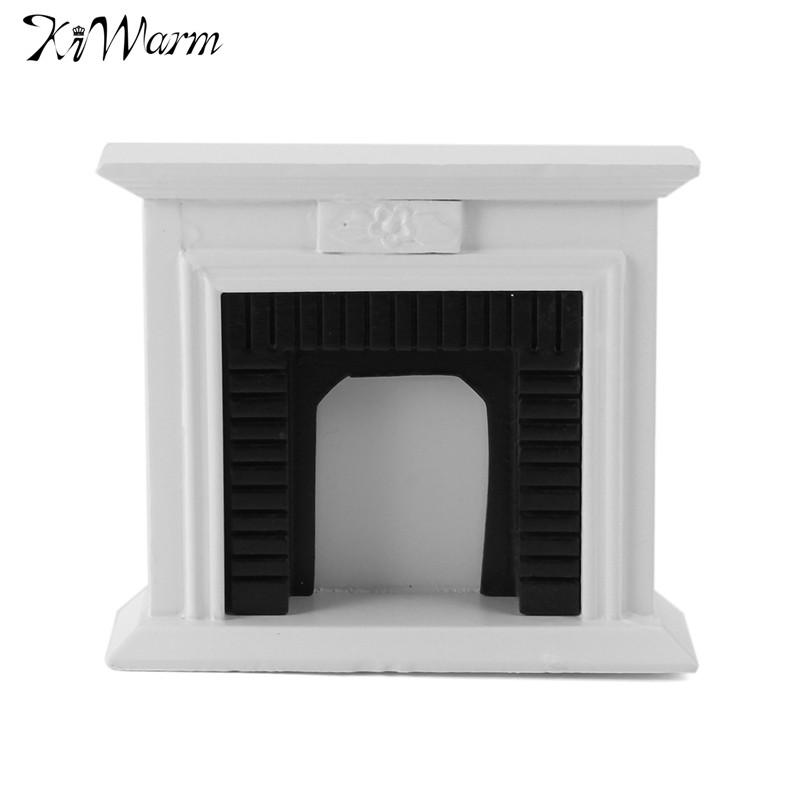 Kiwarm 1:12 Scale Miniature White Wooden <font><b>Fireplace</b></font> Dollhouse Home Decor Furniture Accessories For Children Gift Craft Ornament