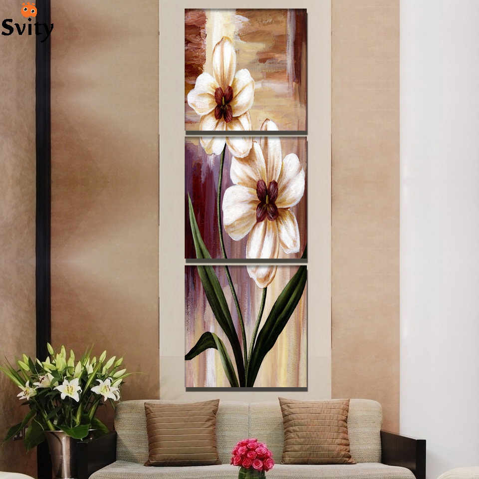 3 Panel Flower Painting Print On Canvas Wedding Decoration
