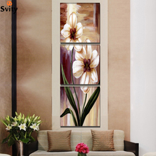 Giveaways wall sticker 3 Panel Flower Painting On Canvas Wall Art Cuadros Flowers Picture Home Decor For Living Room No Fram