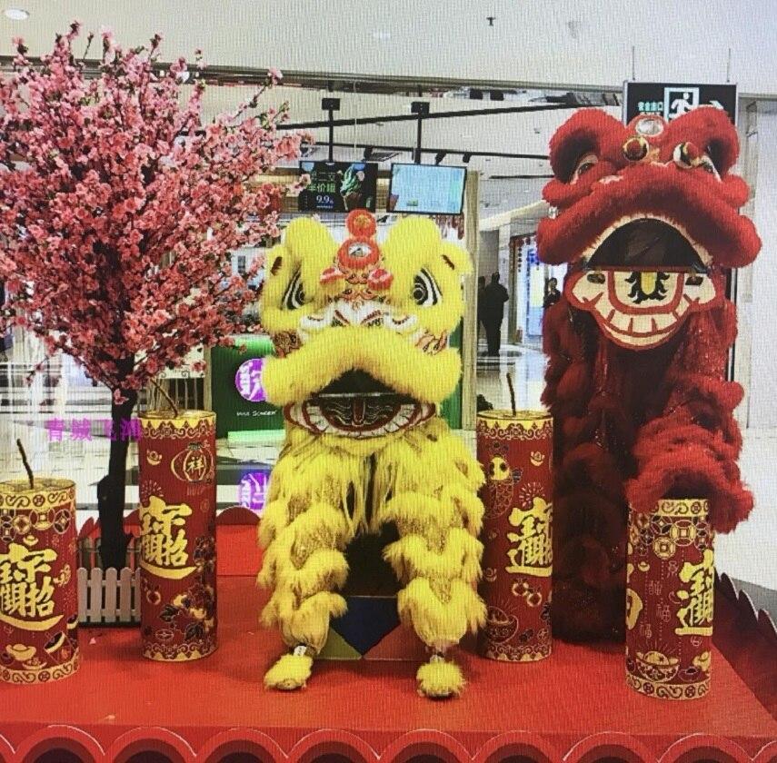 Costume de laine de danse Lion Double tenue de couleur chine sud Hongkong Macao Foshan accessoires de scène faits à la main pour les chinois d'outre-mer