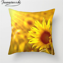 Fuwatacchi Rose Painting Pillow Cushion Cover Flower Leaf Pattern Decorative Pillows Case Sofa Seat Home Decor Pillowcase