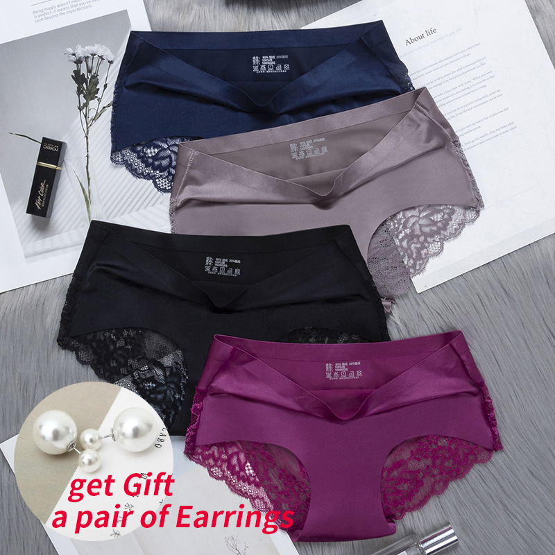 BZEL 3 Pieces/lot Women Sexy   Panties   Breathable Transparent Underwear Lace   Panties   Women's Silky Briefs Seamless   Panties   5Colors