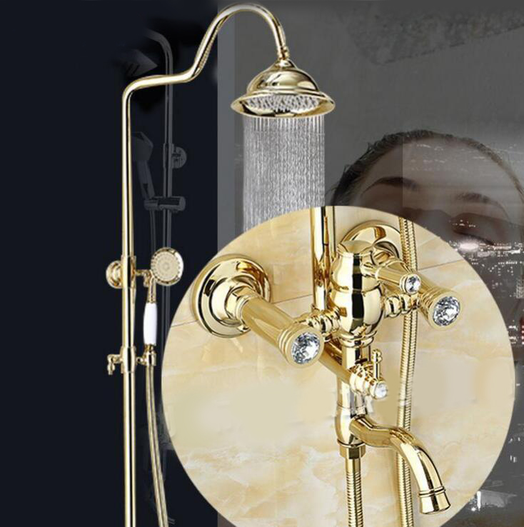 Bathroom Rain Shower Set Gold Wall Mounted Bath Shower Faucets with Hand Shower