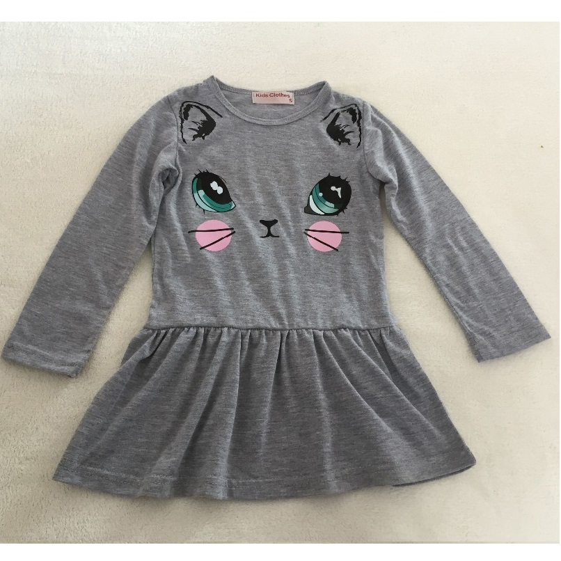 2 3 4 5 6 7 8 Years Girls Dresses Full Sleeved Children Dress Grey Cat Baby Girls Clothes Outerwear Girl Blouses Sweatshirts Top fashion kids baby girl dress clothes grey sweater top with dresses costume cotton children clothing girls set 2 pcs 2 7 years