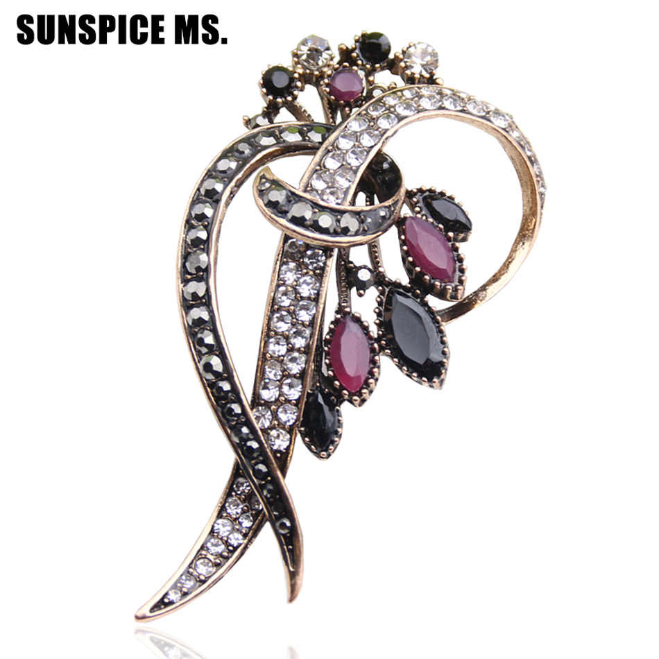 af78e154e89 Detail Feedback Questions about Vintage Banquet Brooch Women Turkish Jewelry  Antique Gold Color Multicolor Resin Flower Brooches Broches Ladies Hijab  Scarf ...