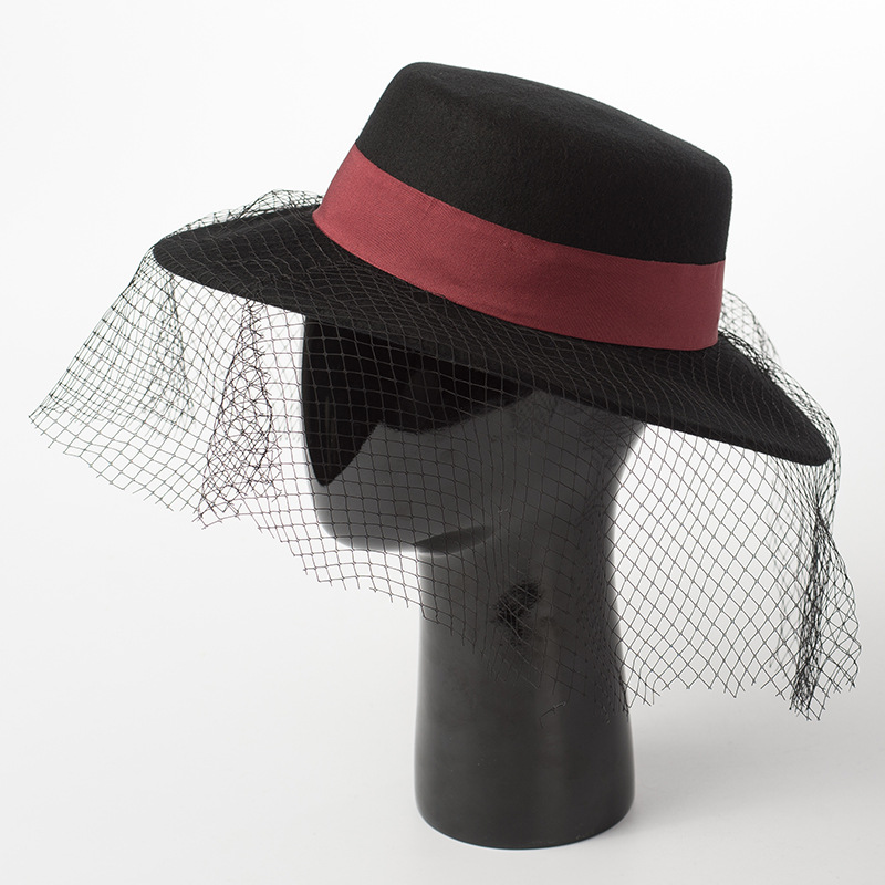 01812 HH8126 % wool black hat red ribbon leisure lady fedoras cap women PANAMA hat