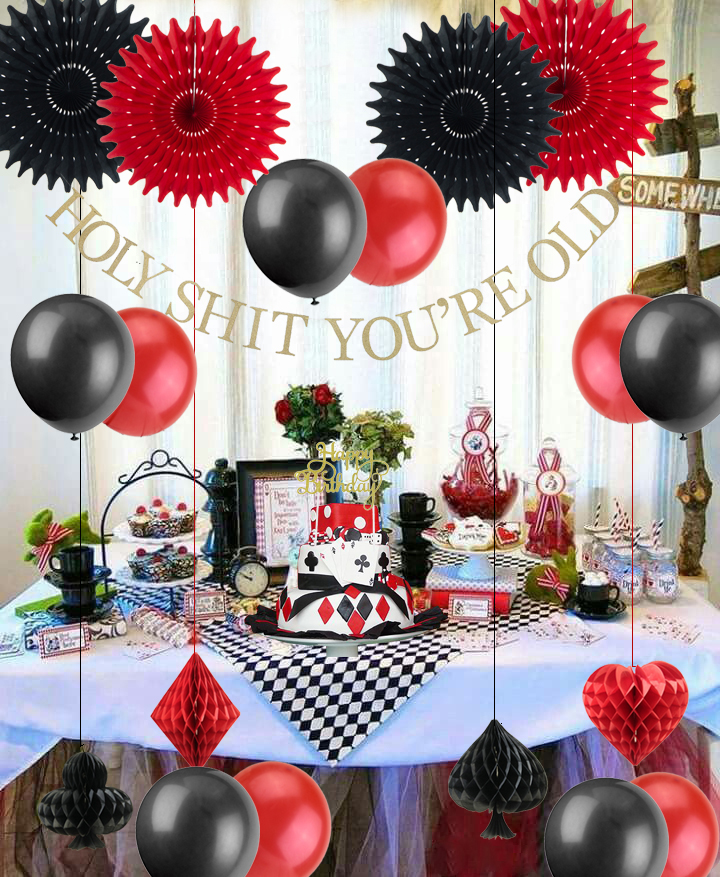 Image 3 - Casino Poker Theme Birthday Party Decorations Black Red Balloons Funny Banner  Birthday Cake Topper Fans Las Vegas Supplies-in Party DIY Decorations from Home & Garden
