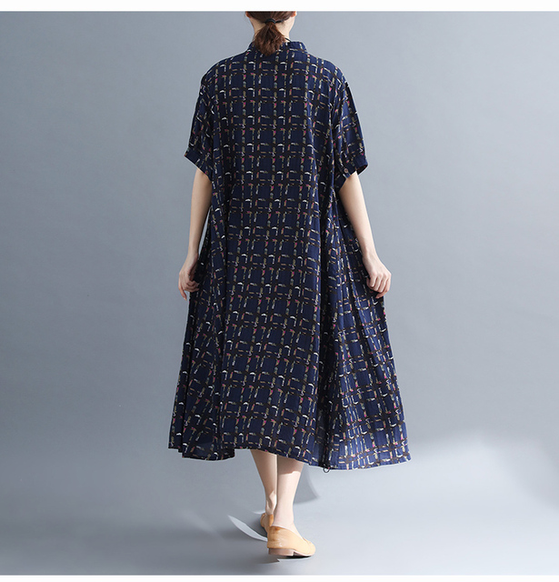 Ladys Fashion Plus Size Cotton&Linen Big pocket Jumper Plaid Casual Dress Summer Lagenlook Short Sleeve Checkered Tunic Dress 4
