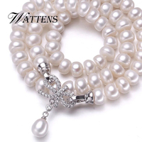 WATTENS Bowknot Charm White Pearl Necklace 925 Sterling Silver Jewelry Natural Pearl Jewelry Women Wedding Birthday