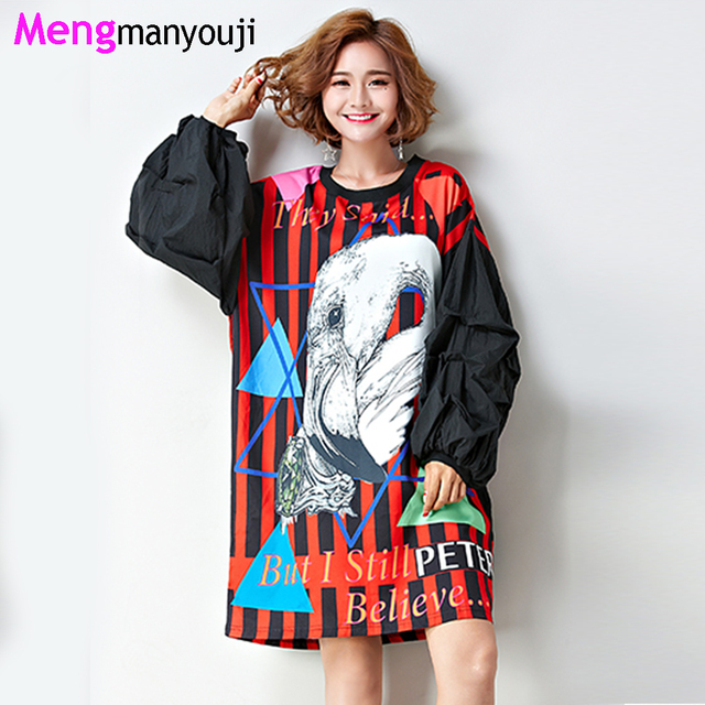 90851aaaaa92 Women Autumn Plus Size T Shirt Stripes Bird Long Lantern Sleeve Europe  Style Punk Fashion Loose Tops&Tees Red Green T6107