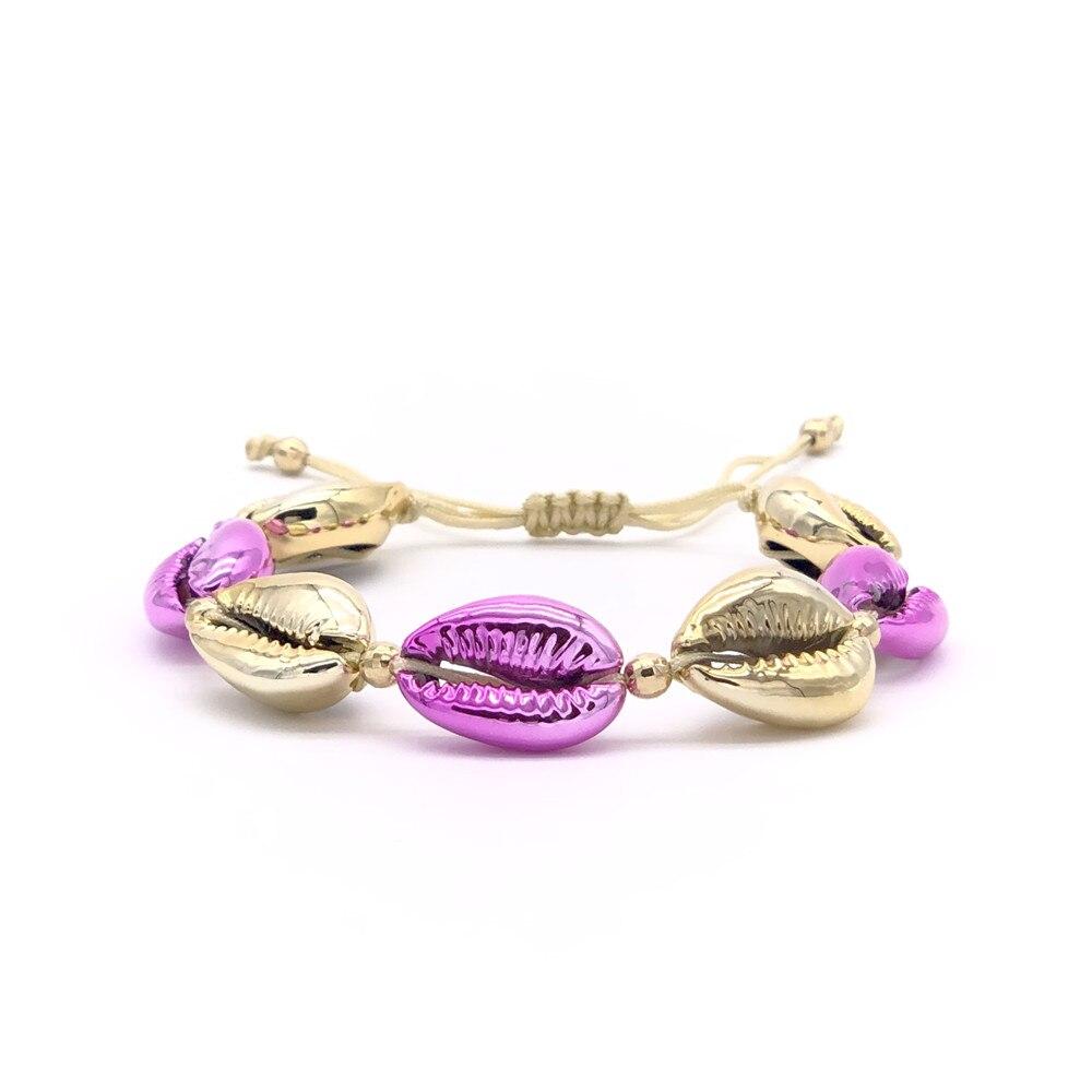 Shinus Wholesale 10pcs lot Shell Bracelet Top Boho Chic Festival Fashion Rainbow Bijoux Girls 2019 Handmade Jewels Shellbracelet in Strand Bracelets from Jewelry Accessories
