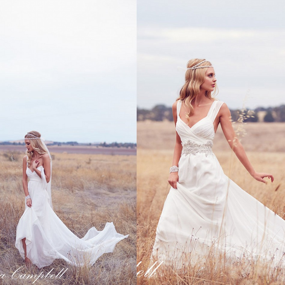 Anna Campell Elegant Ruched Sweetheart Hippie Boho Wedding