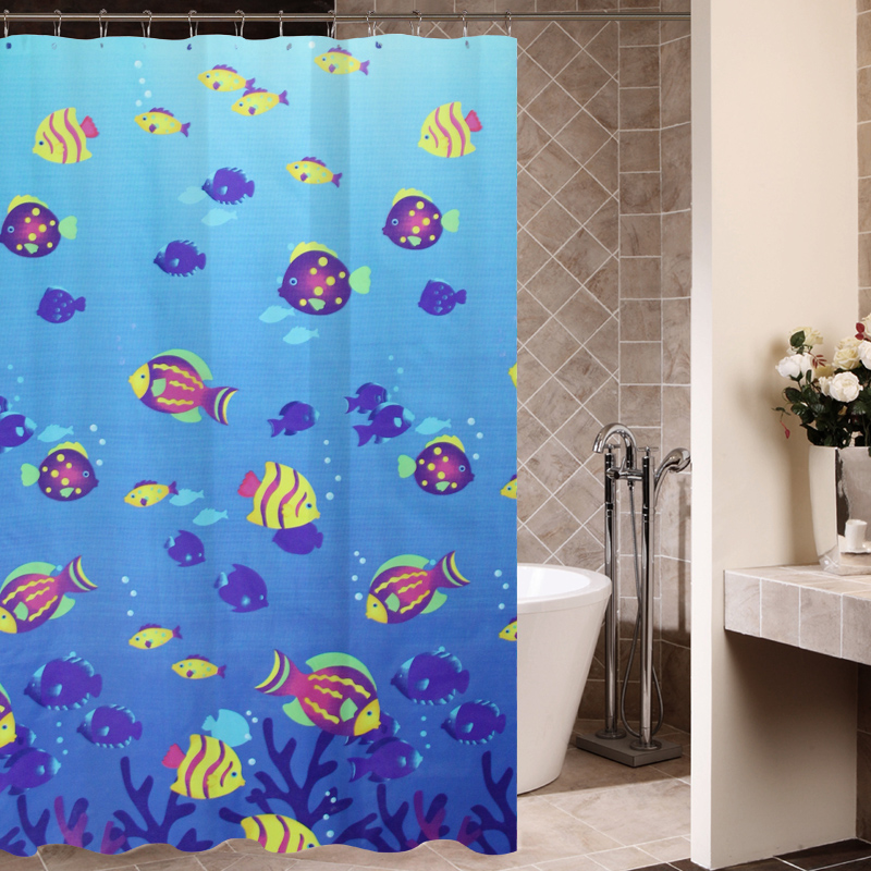 The deep sea tropical fish polyester shower curtain bathroom waterproof anti-mildew proof outdoor cushion and plastic hook