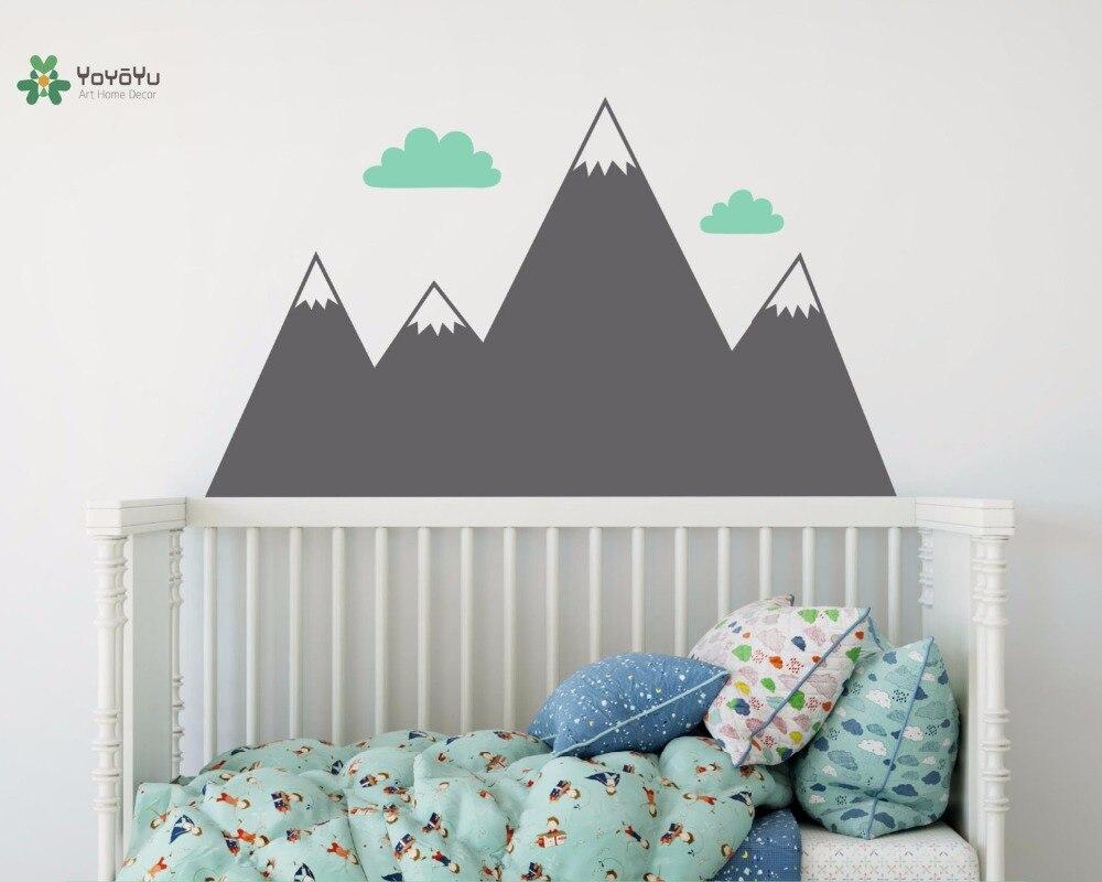 YOYOYU vinyle mur décalcomanie montagne nuages enfants bébé chambre Art amovible maison papier De Parede Para Quarto autocollants FD558