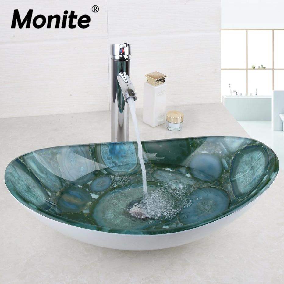 Stone Oval Tempered Glass Washroom Basin Vessel Vanity Sink Bathroom Basin Washbasin Chrome Polished Mixer Faucet Set w/ Drain