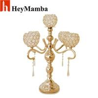 HeyMamba 5 Head Crystal Table Candelabra Metal Candle Holder Metal Candlestick Wedding Centerpieces Decoration