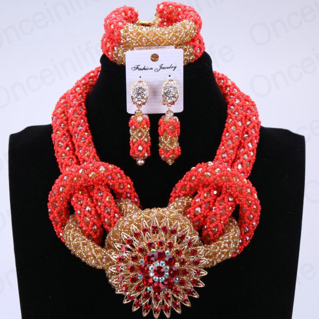 Fantasy Christmas Costume Necklace Jewelry Set Red and Gold African Lady Custom Jewelry Set Free Shipping with Brooch  LXF51