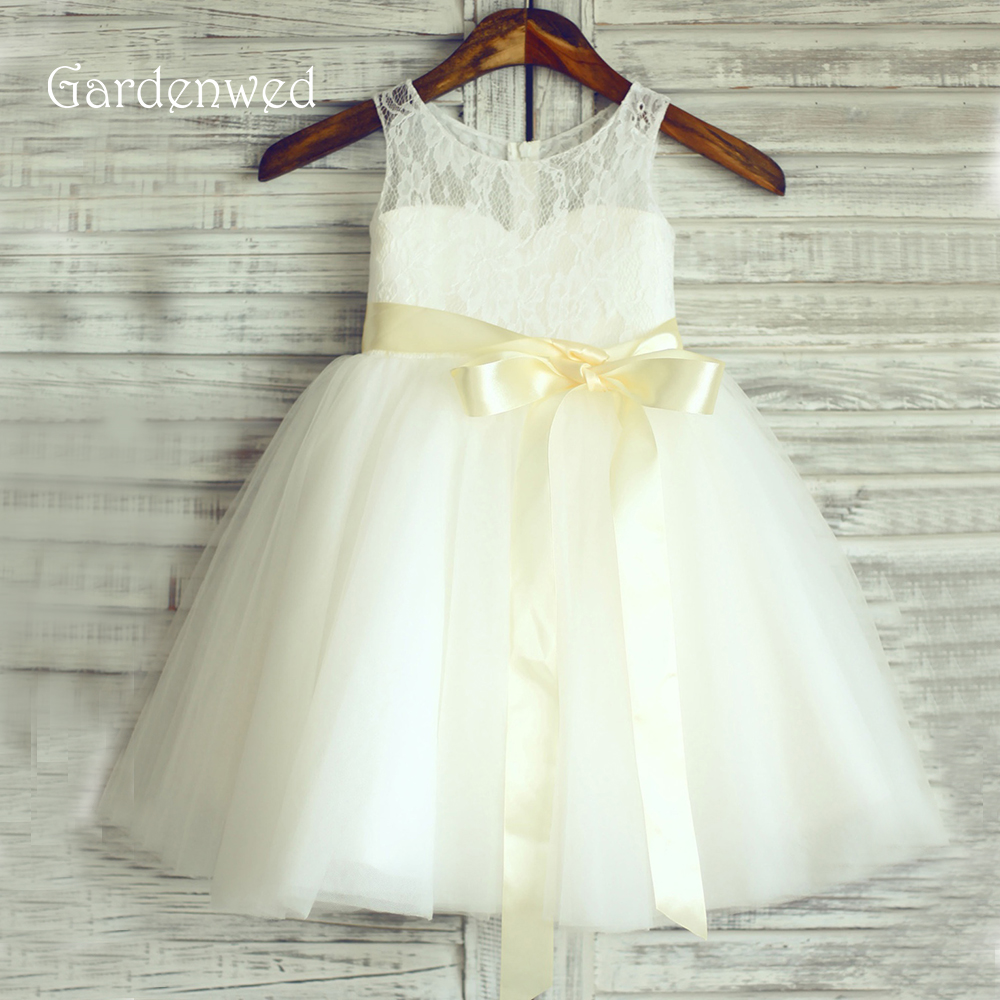 Gardenwed Yellow Belt   Flower     Girl     Dress   2019 France Lace First Communion   Dress   Child Party Little Baby   Girl   Formal Gown Birthday