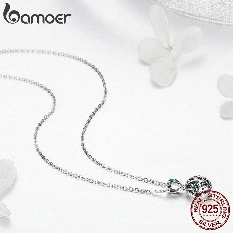 BAMOER authentique 925 en argent Sterling ensembles arbre de vie vert cristal AAA CZ bijoux ensemble en argent Sterling bijoux cadeau ZHS053 - 6