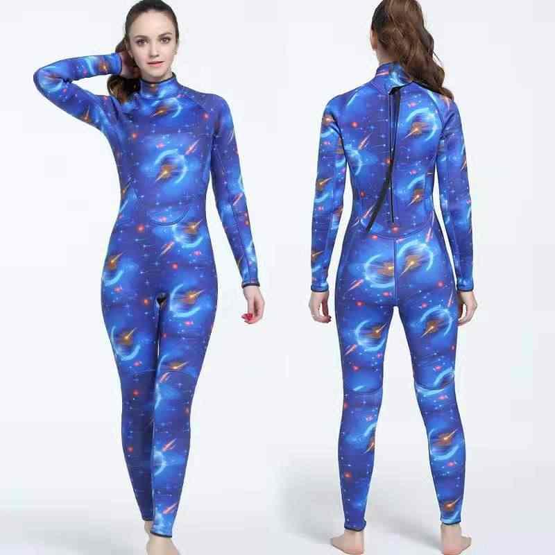 3 MM Wetsuit Erkekler Tek Parça Kamuflaj Mayo Tam giyisi Yüzme Sörf Spearfishing