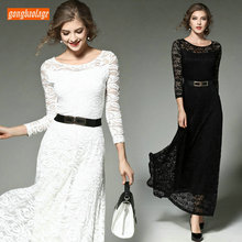 Formal Women Party Ivory Lace Evening Dress 2019 Black Long Prom