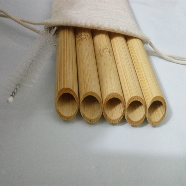 5PCS/Set 20cm Pointed Smoothie Drinking Straw Eco Friendly Reusable Bamboo Straws Big Wide Bubble Milk Tea Drinking Straw Brush 3
