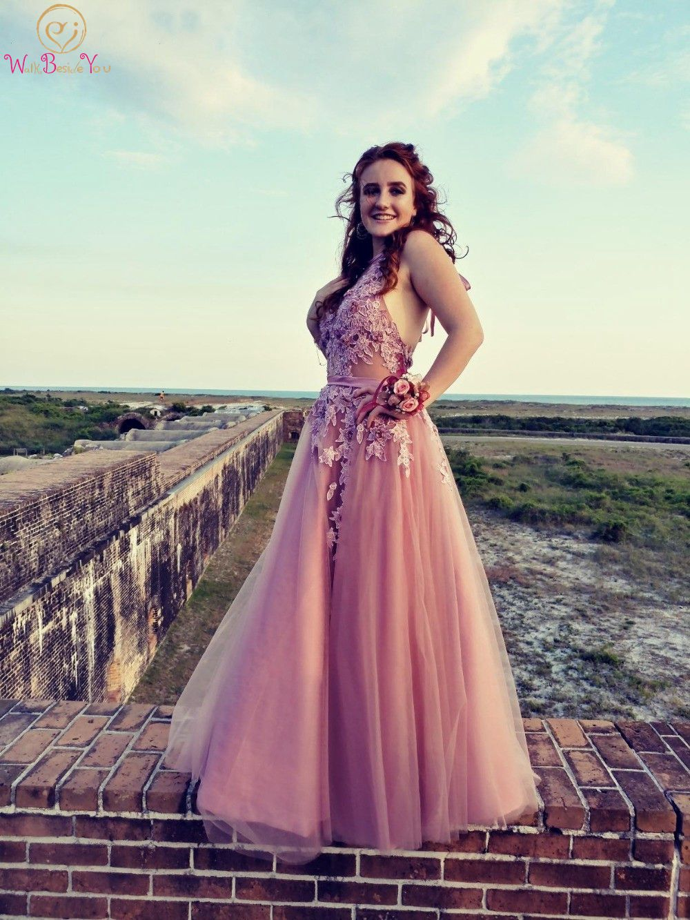 US $76.44 30% OFF Halter Prom Dresses Lace Appliques Plus Size Long 2019  Pink Belt Tulle Sweep Train vestidos de graduacion largos Evening Gowns-in  ...