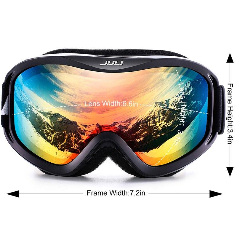 Лыжные очки, снежные виды спорта сноуборд над очками очки с анти туман УФ защитой двойные линзы для мужчин женщин и молодежи снегоход - 2