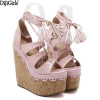 2017 Summer Women Sandals Heels Fashion Tassel Shoes Woman Ankle Strap Heels Cork Platform Wedges Sandals