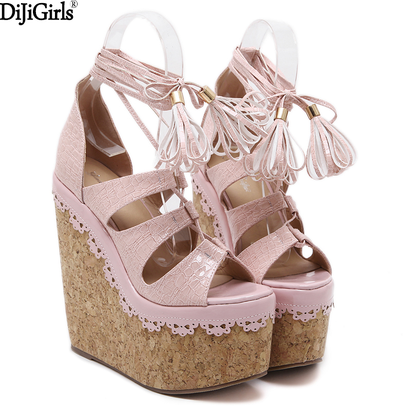 2017 summer women sandals heels fashion tassel shoes woman ankle strap heels cork platform wedges sandals extreme high heels xiaying smile summer woman sandals shoes platform women pumps buckle strap wedges heels fashion casual flock rubber women shoes
